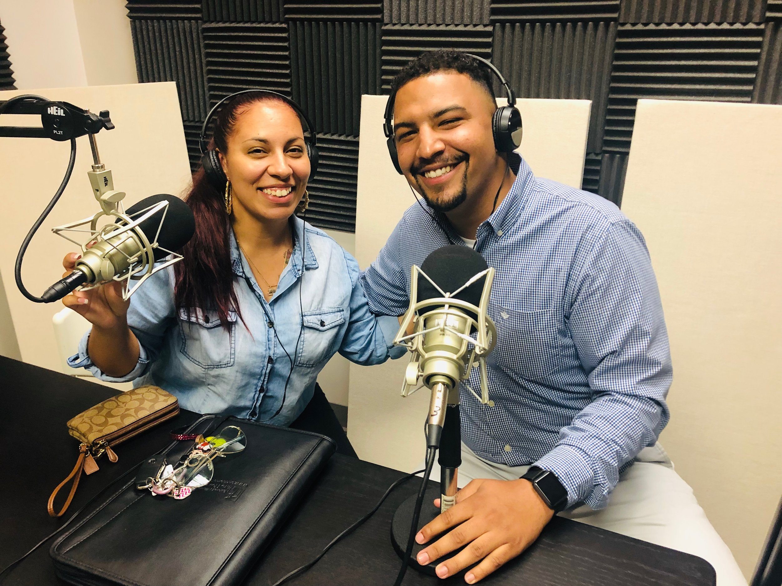 Abrea and David in the podcast studio.