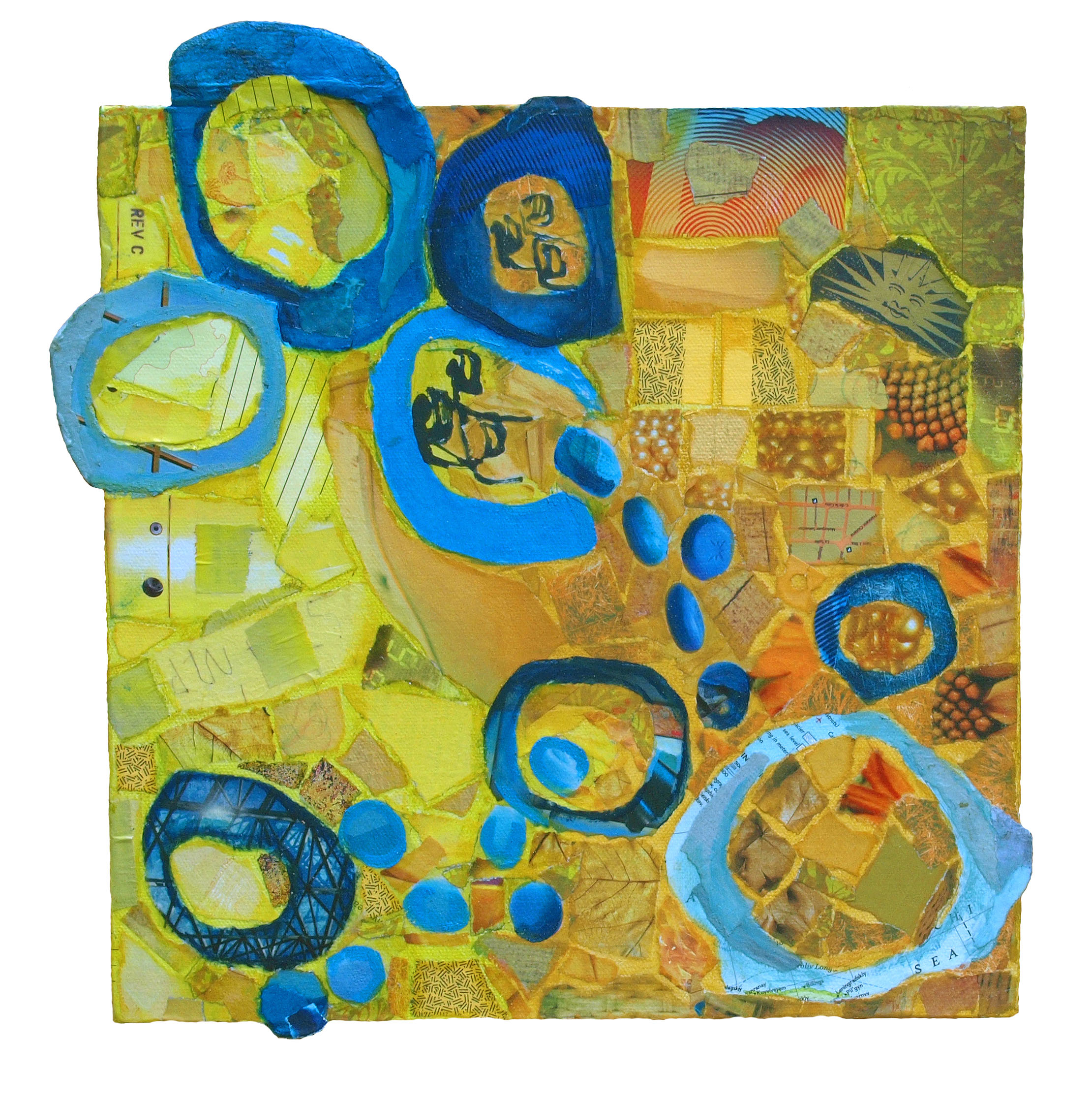 """boing (blue & yellow)  12""""x12""""  (sold)"""