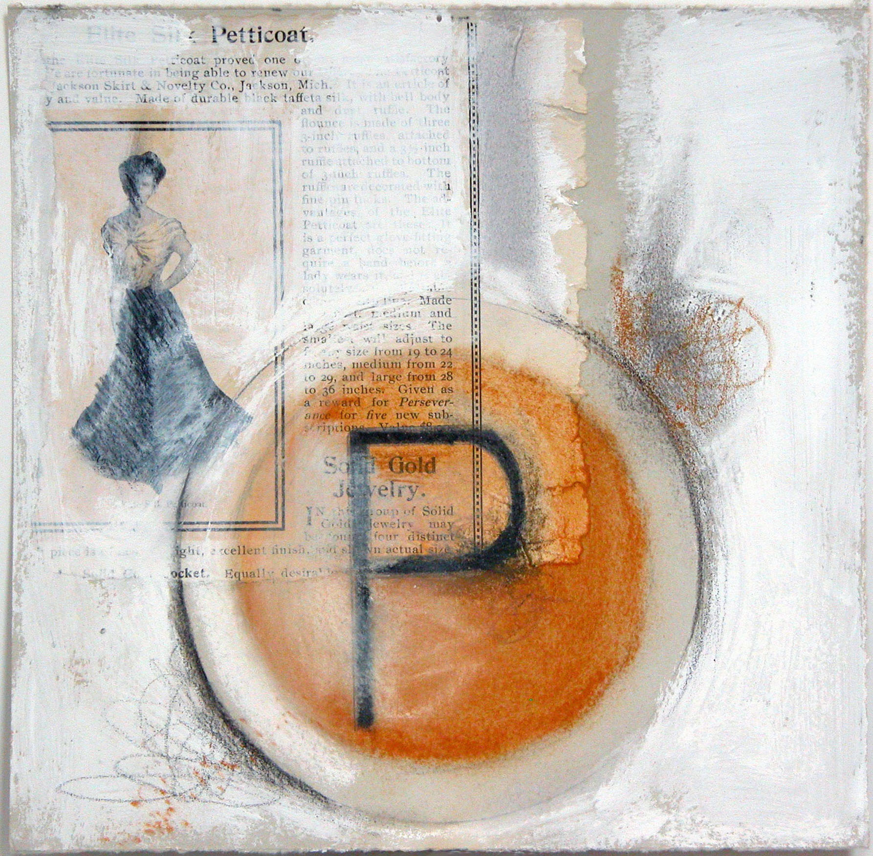 """P is for petticoat  10""""x10""""  (sold)"""