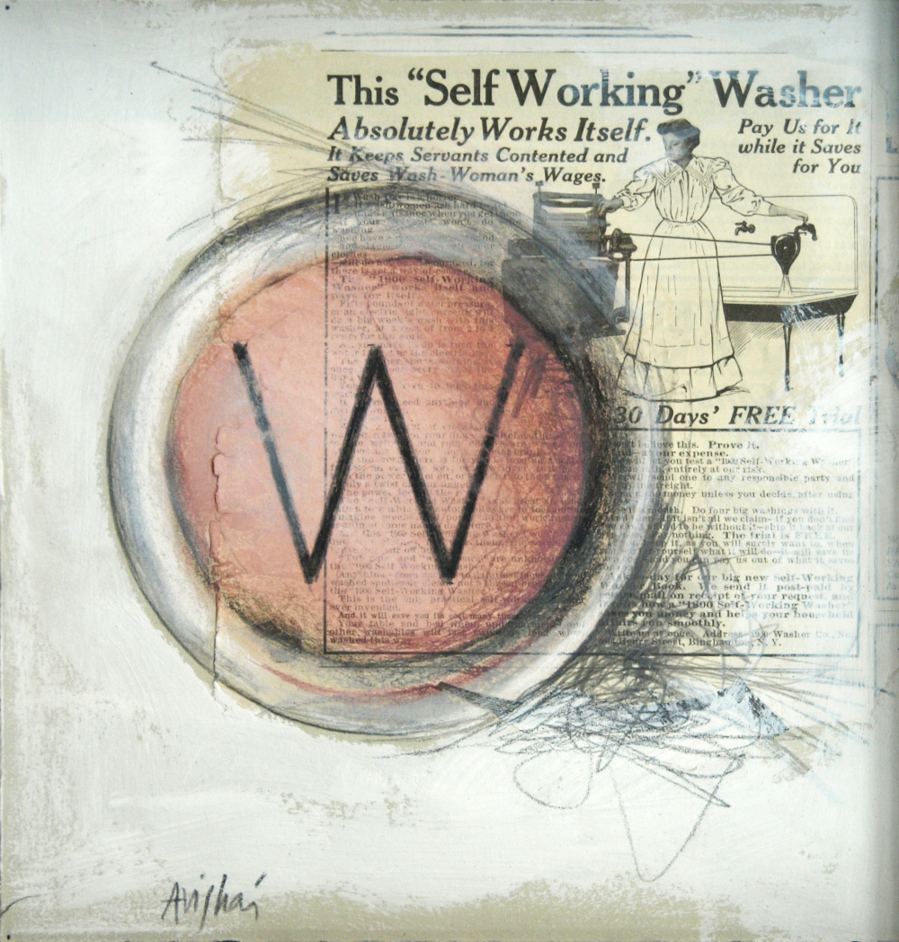 """W is for washer  10""""x10"""" (sold)"""