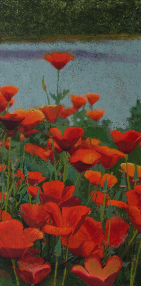 "california poppies  24""x12""  (sold)"
