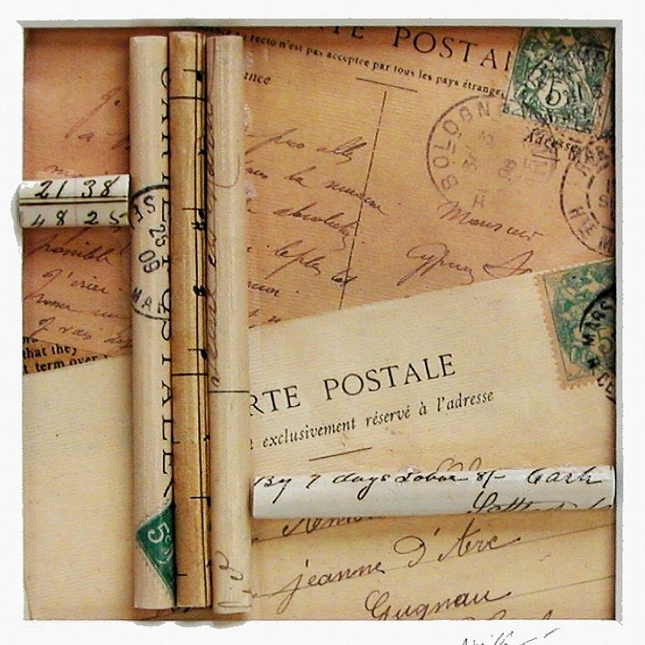 "Carte Postale   10""x10"" framed  mixed media  $70"