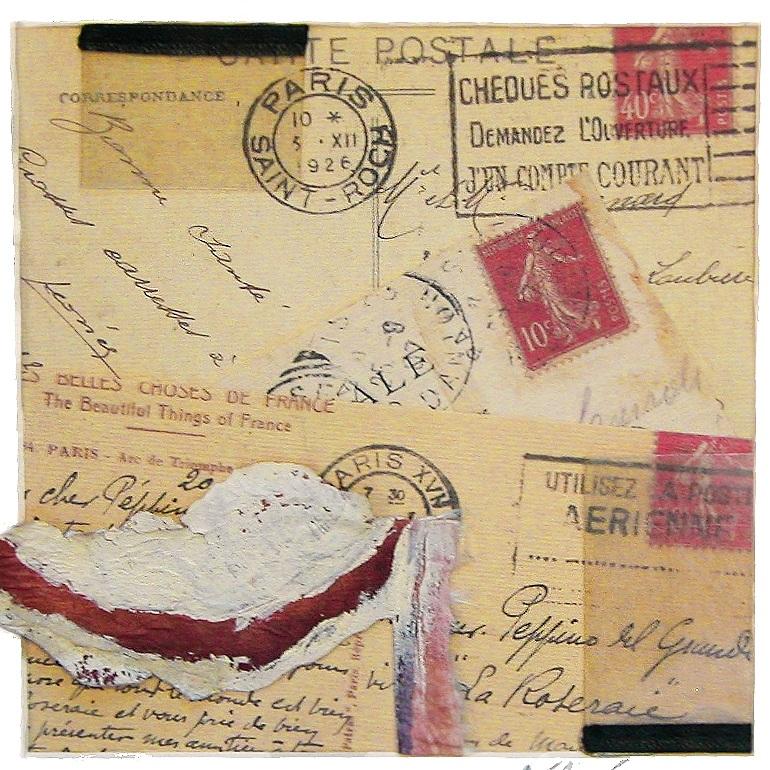 "Carte Postale to Peppino   10"" x 10""  mixed media  $70"