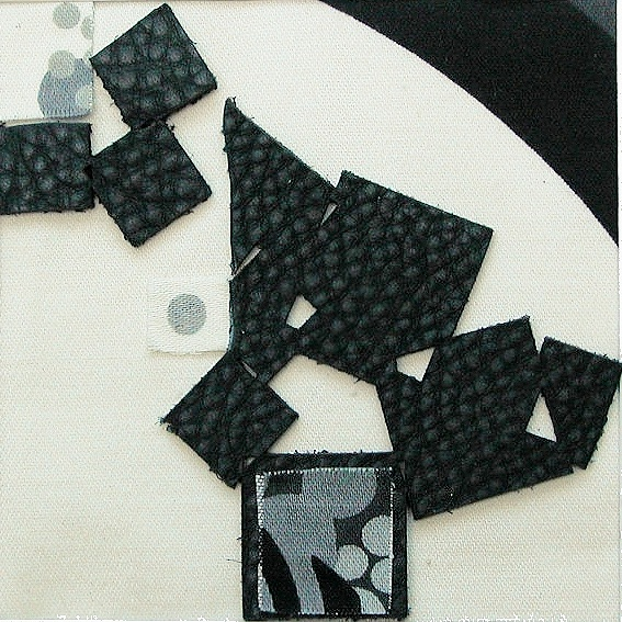 """Tumble    10""""x10"""" framed  mixed media with leather pieces and fabric  $70"""