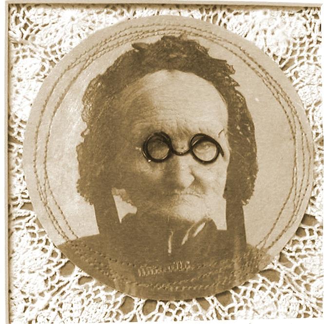 "Granny Glasses   10"" x 10"" framed  vintage photo, wire  $70"