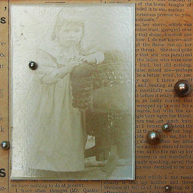 "Girl with Pearls  10""x10"" framed  vintage photo, pearls, vintage newspaper  $70"