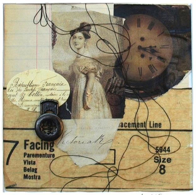 "Size 8   10"" x 10"" framed  pattern tissue, vintage paper, thread, metal  $70"