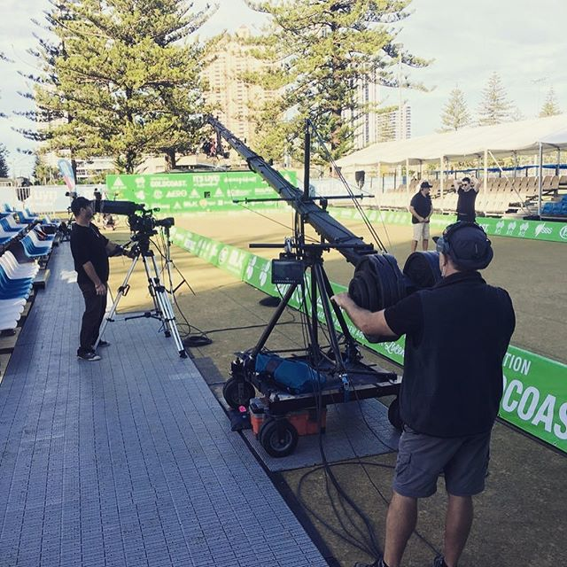 Rainmaker last weekend broadcasting the Bowls action for SBS and FoxSports on one rink and on the other streaming live to Facebook.  All up 13 cameras and over 30 crew on the park at Broadbeach Bowls Club broadcasting and streaming 30 hours of live bowling over two big days.