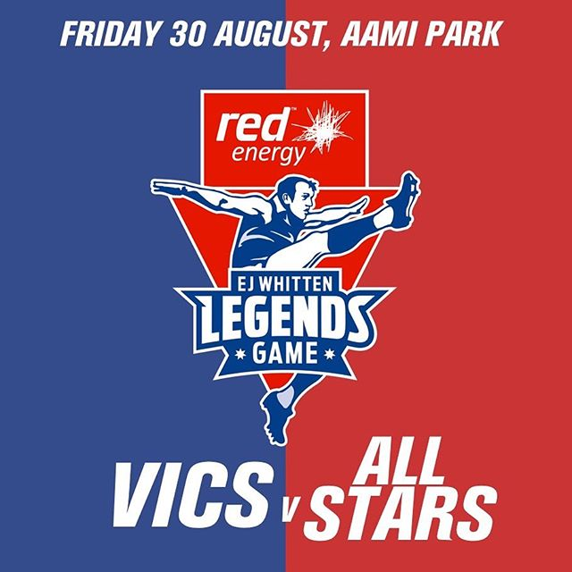 """TONIGHT!! The @redenergyau E.J. Whitten Legends Game is upon us.  Get down to Melbourne's AAMI Park to witness some of the biggest, baddest former AFL stars clash in a battle of the VICS v the ALL STARS.  Link in bio for 🎟 or at the gates from 6:30pm - Family Fun Zone (Gosch's Paddock from 6pm) - Gates at 6:30pm - Kick-off 8pm - Half Time - Picket Palace will be performing a number of tracks off the new album """"The Footy Record'  If you can't make it, kick back on the couch and watch it live on Channel 7.  Slide across to see all of the LEGENDS, Picket Palace, Event Map and Event Details, The AFL Record and Text to Donate number."""