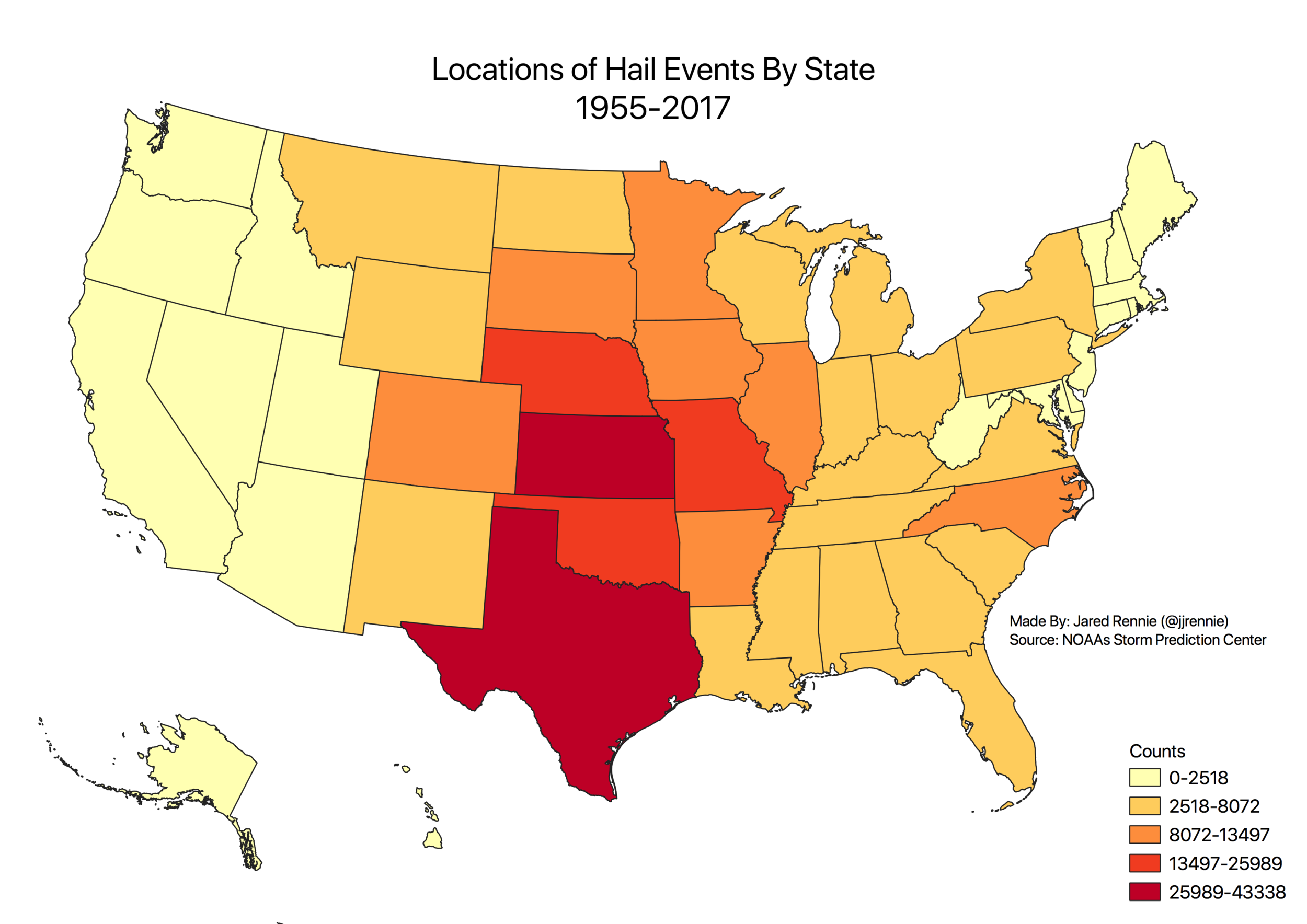 Location of hail reported in the United States, by state, between 1955 and 2017. Source:  Storm Prediction Center .