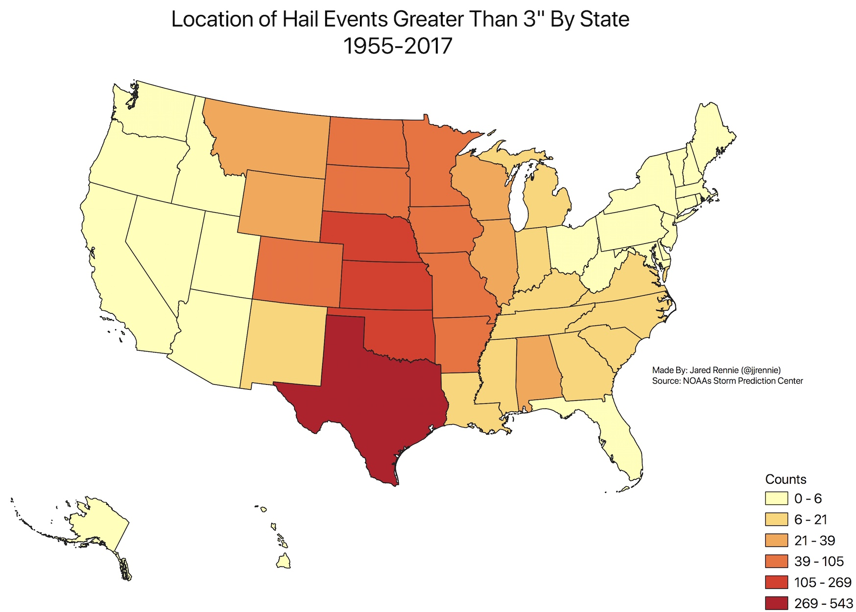 Location of hail greater than 3 inches reported in the United States, by state, between 1955 and 2017. Source:  Storm Prediction Center .