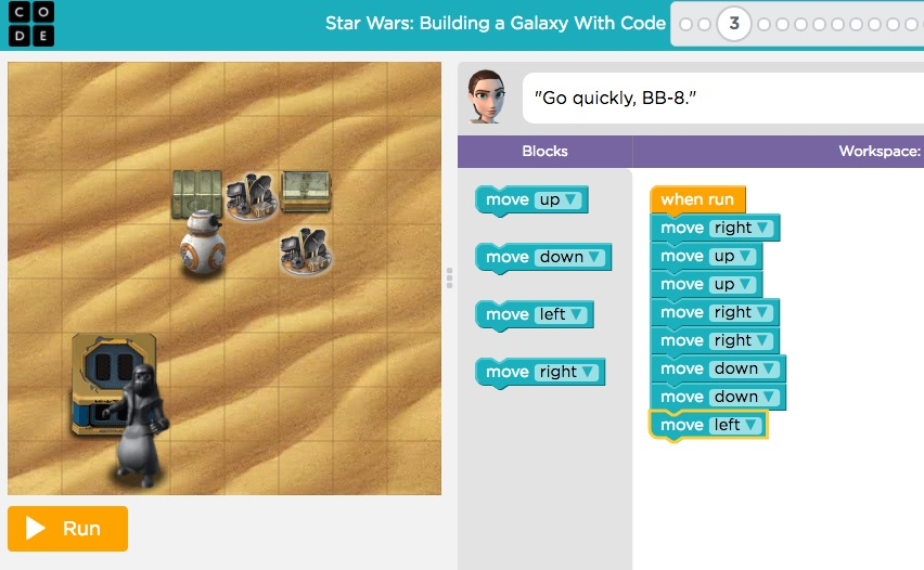Example of  Star Wars game , provided by Lucasfilm and the Code.org organizations.