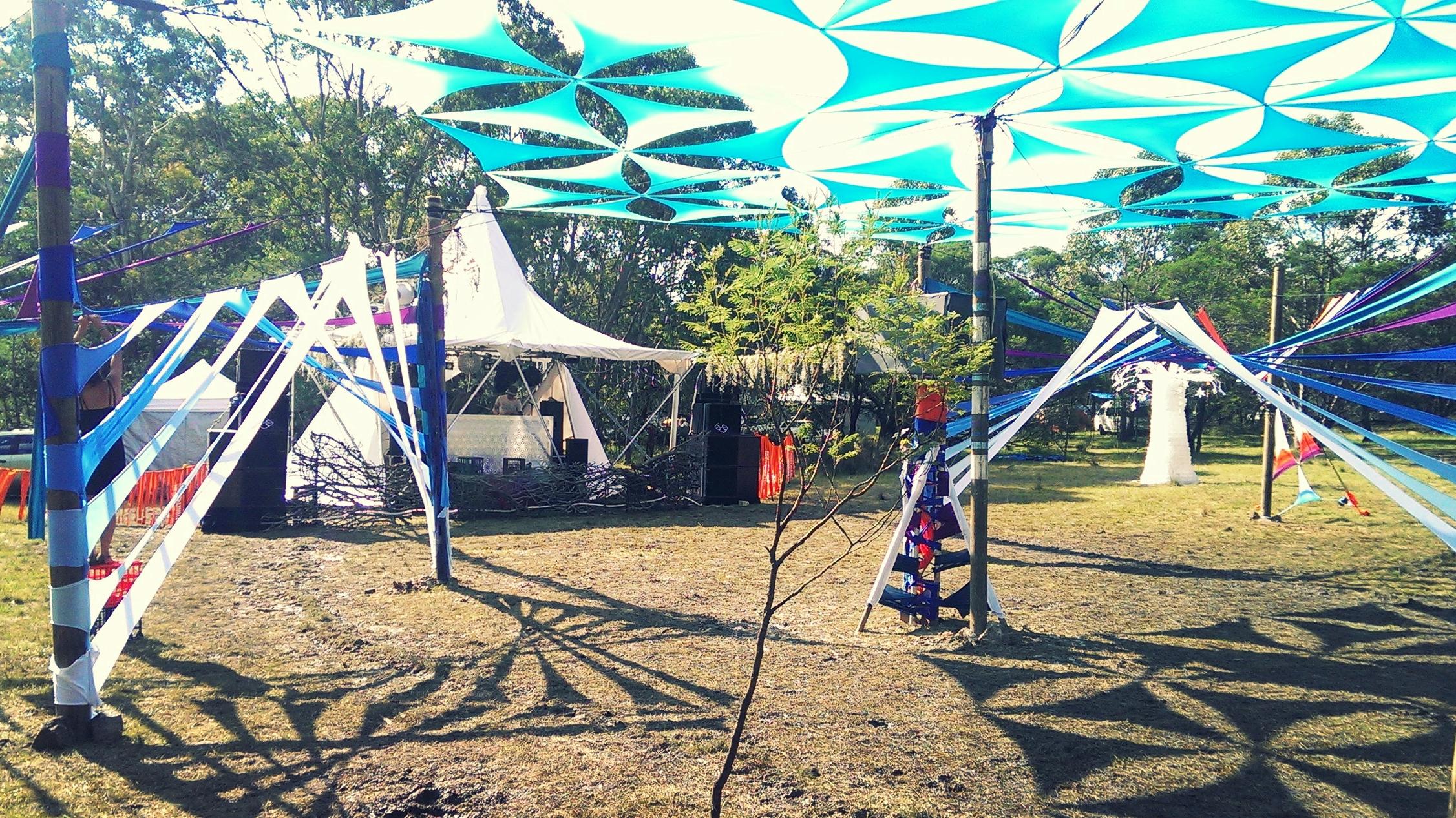 Regrowth festival stage decor installation