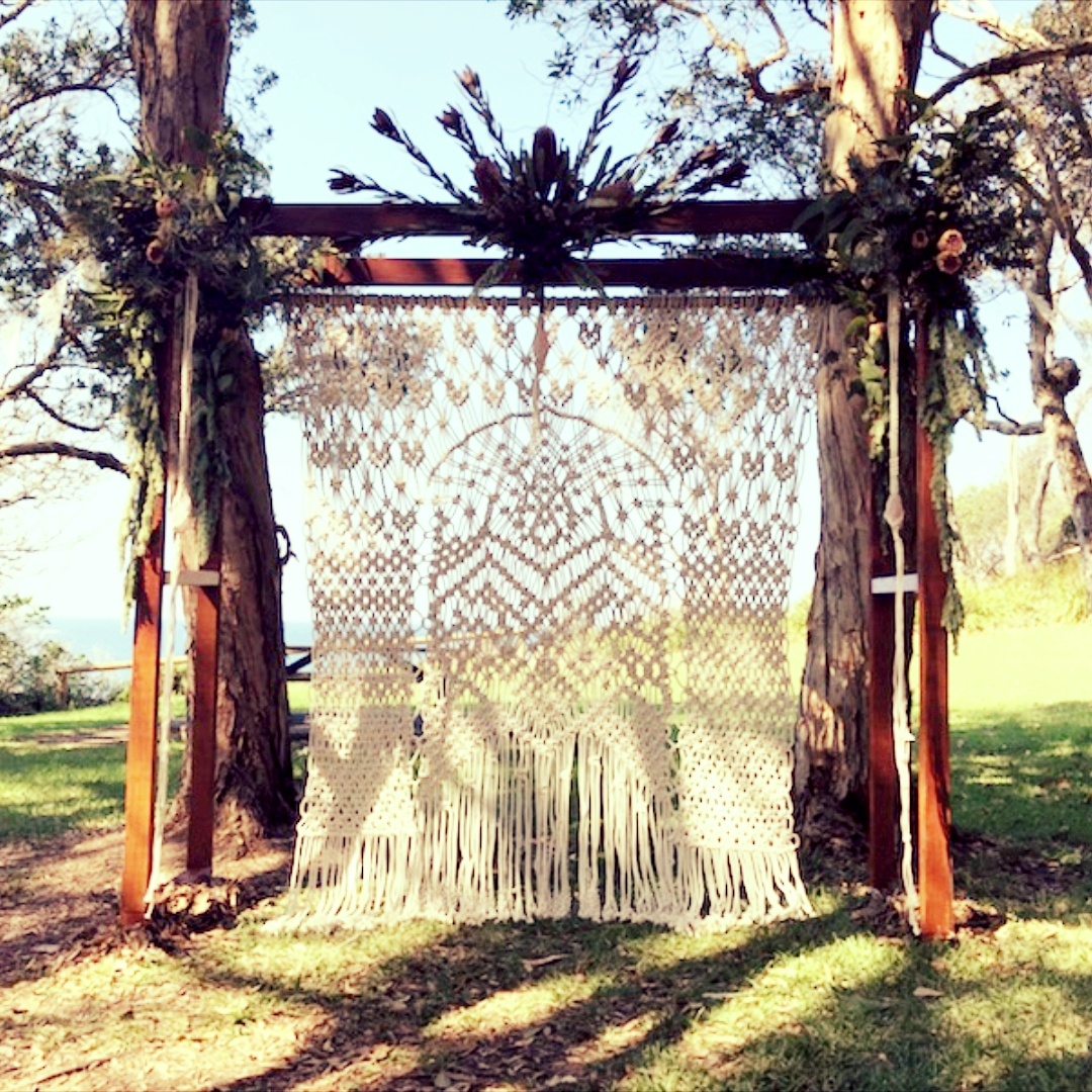 One of a kind, macrame archway - contact us to hire for your Wedding