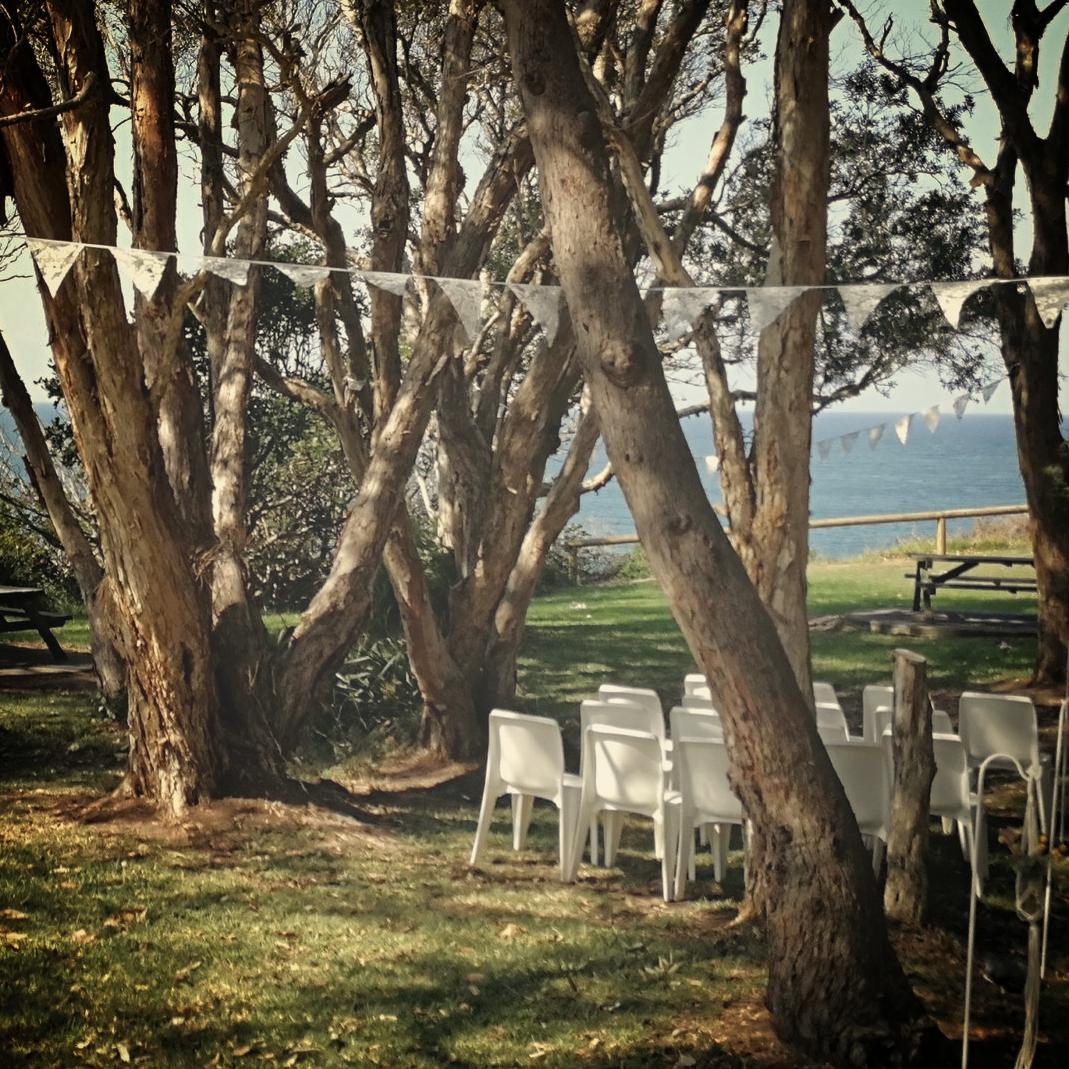 Lace bunting at wedding