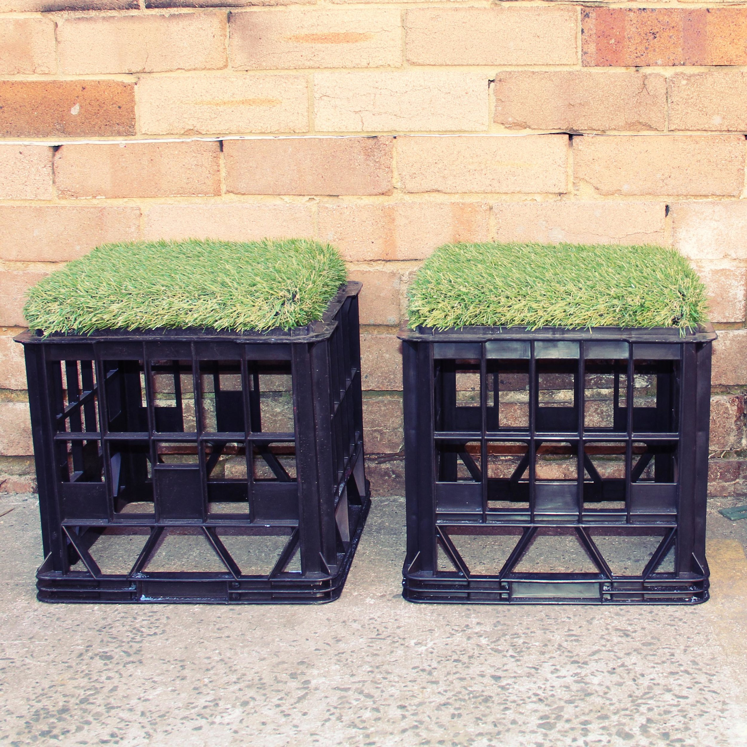 Milk crate seats with astro-turf cushion - up to x100 available