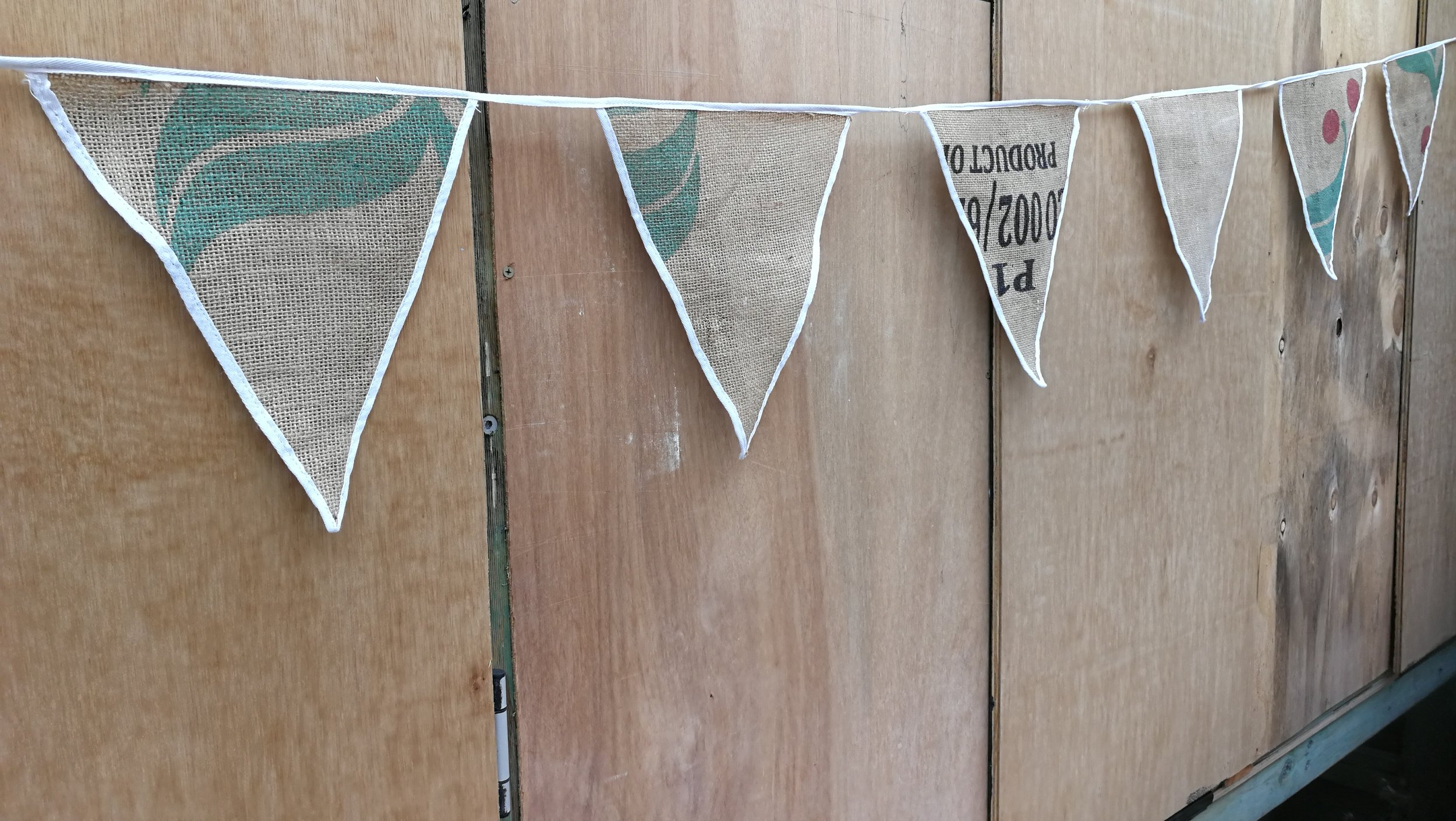 Coffee sack bunting with white trim - up to 100m available