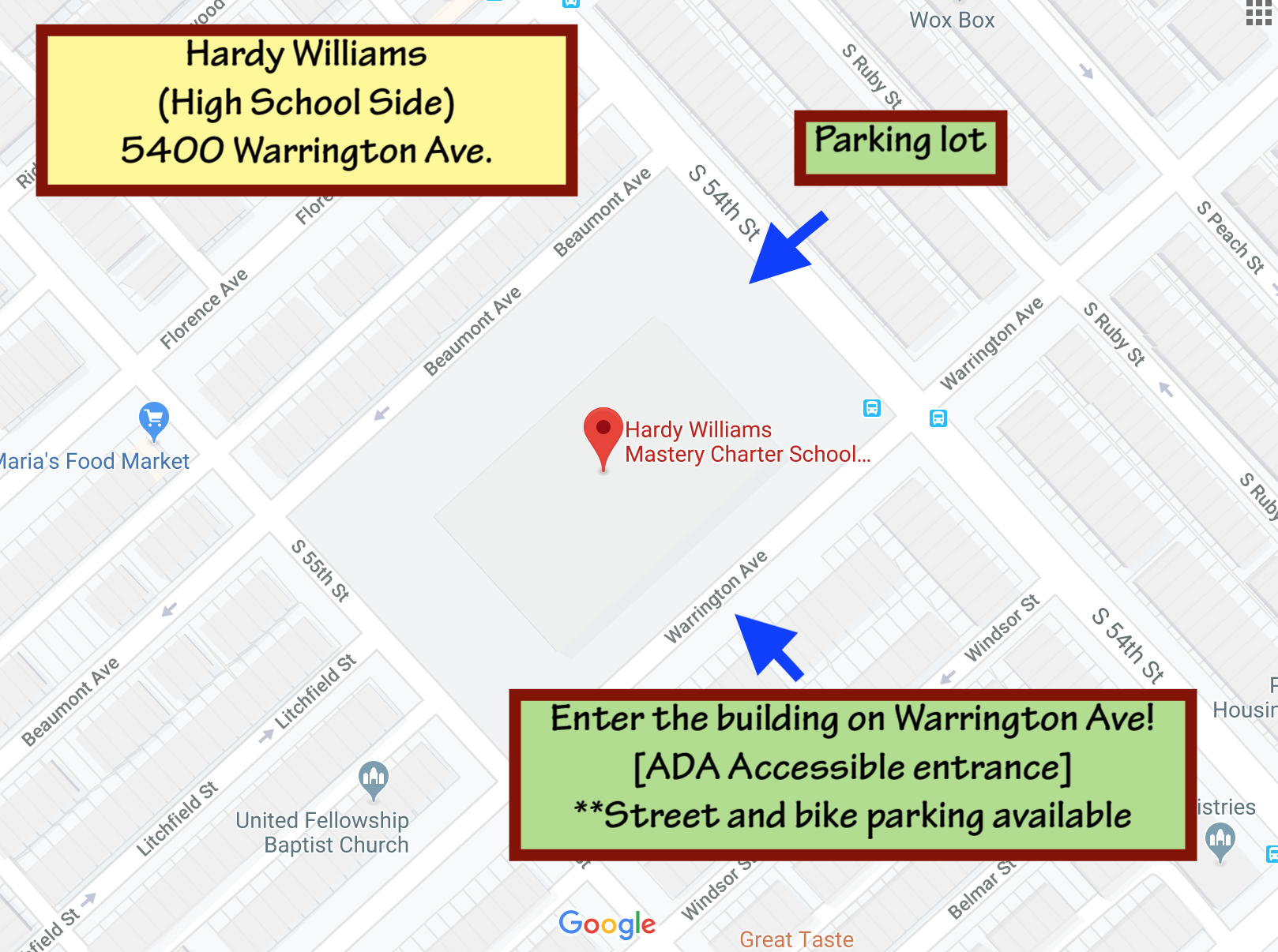 Where is Rock Camp located? - Hardy Williams Mastery Charter High School5400 Warrington Ave. Public transportation options: 13 Trolley Stop @ 54th and Chester Ave. 34 Trolley Stop @ 55th and Baltimore Ave.Right next to a 52 Bus Stop.