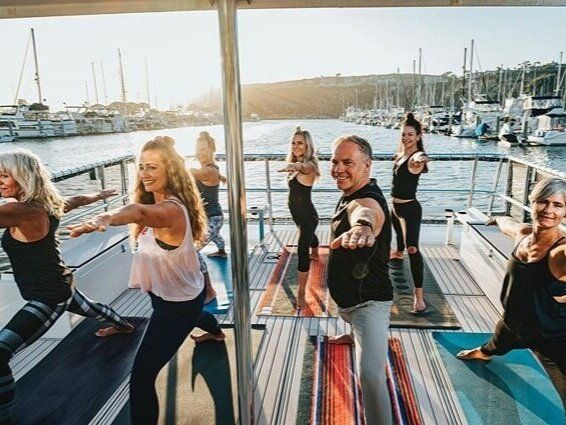 Yoga on a private yacht in Dana Point Harbor -