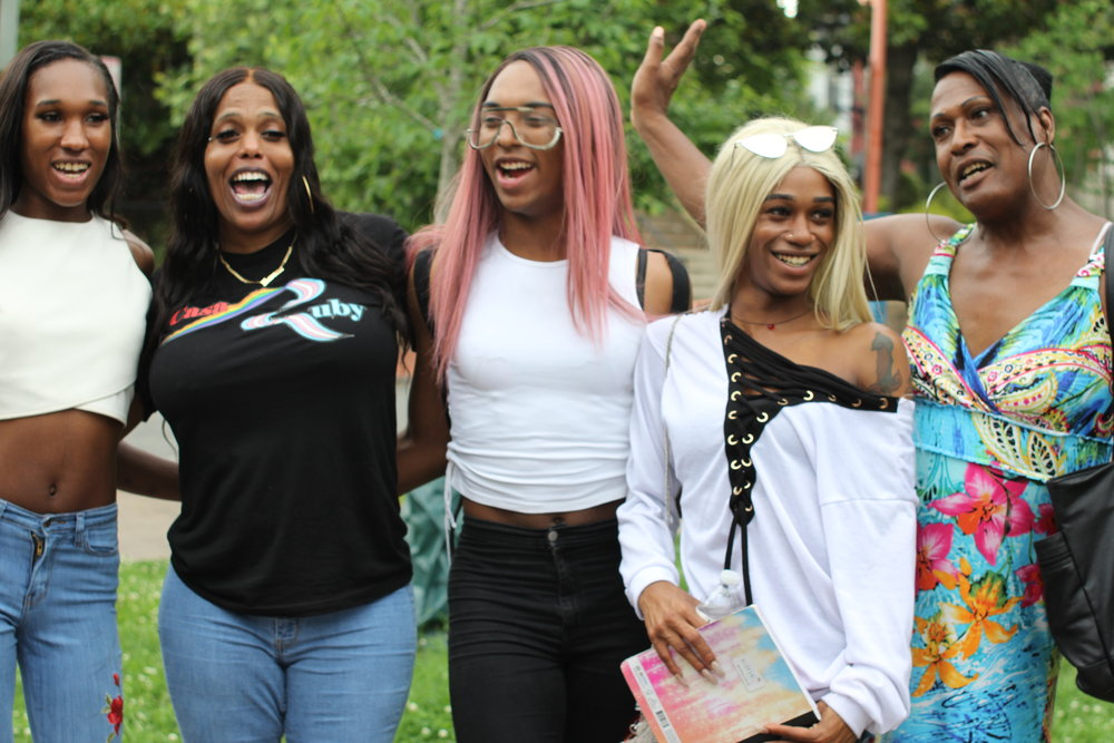 Tamika Spellman (far right) and other freedom fighters from Casa Ruby and No Justice, No Pride at the Sex Workers Rise Up for Safety rally (2018)