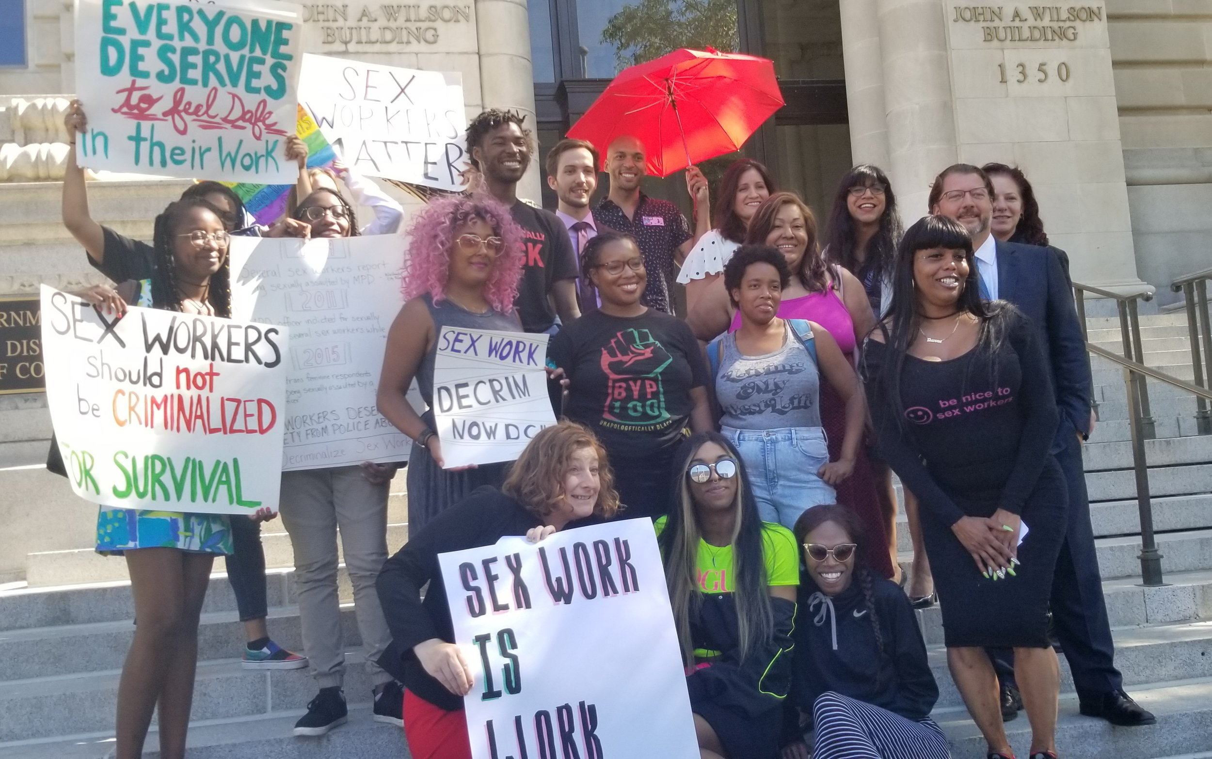 DECRIMNOW organizers, advocates, allies, and Councilmember David Grosso at the press conference for the bill introduction. (June 3, 2019)