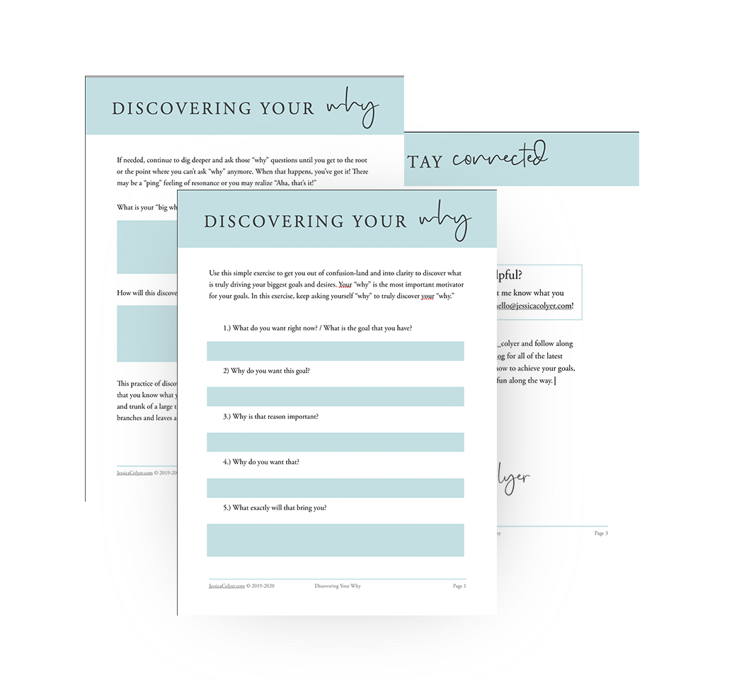 Discover Your Why Worksheet | Jessica Colyer