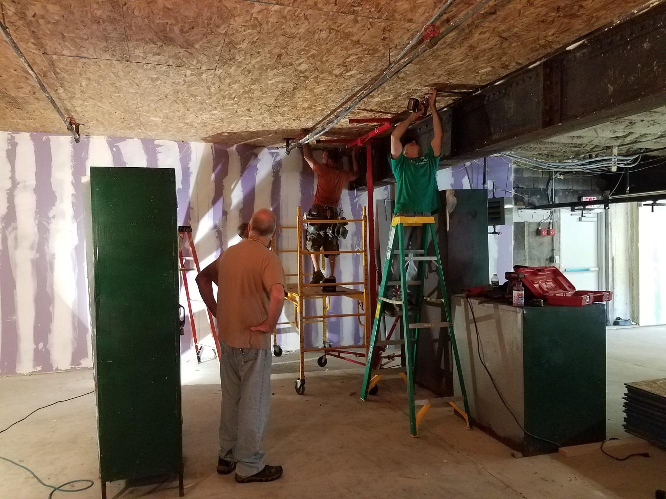 Ceiling panels installation.