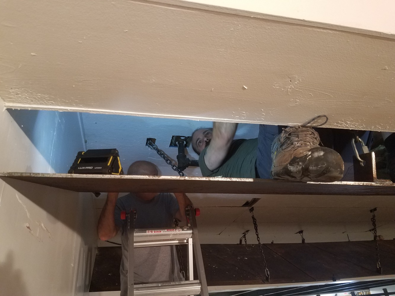 Richard spent about 2.5 hours in here reattaching the ceiling while Bob, Dean, and Dale cut and supported the effort from outside. Many thanks Richard for the outstanding effort.