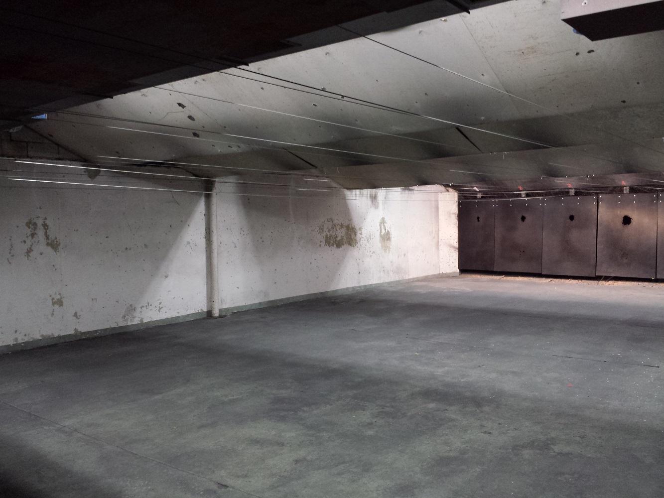 Original walls and overhead baffles.