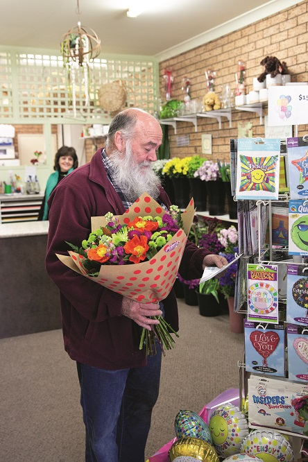 Very loyal customer, Ken Roberts choosing a balloon to go with his purchase - Copy.jpg