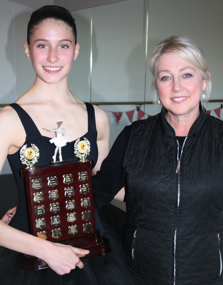 A lot of hard work, Claire with the Betty Keirnan Memorial Trophy and her teacher, Suzanne Duffy, Principal of Colour City Dance