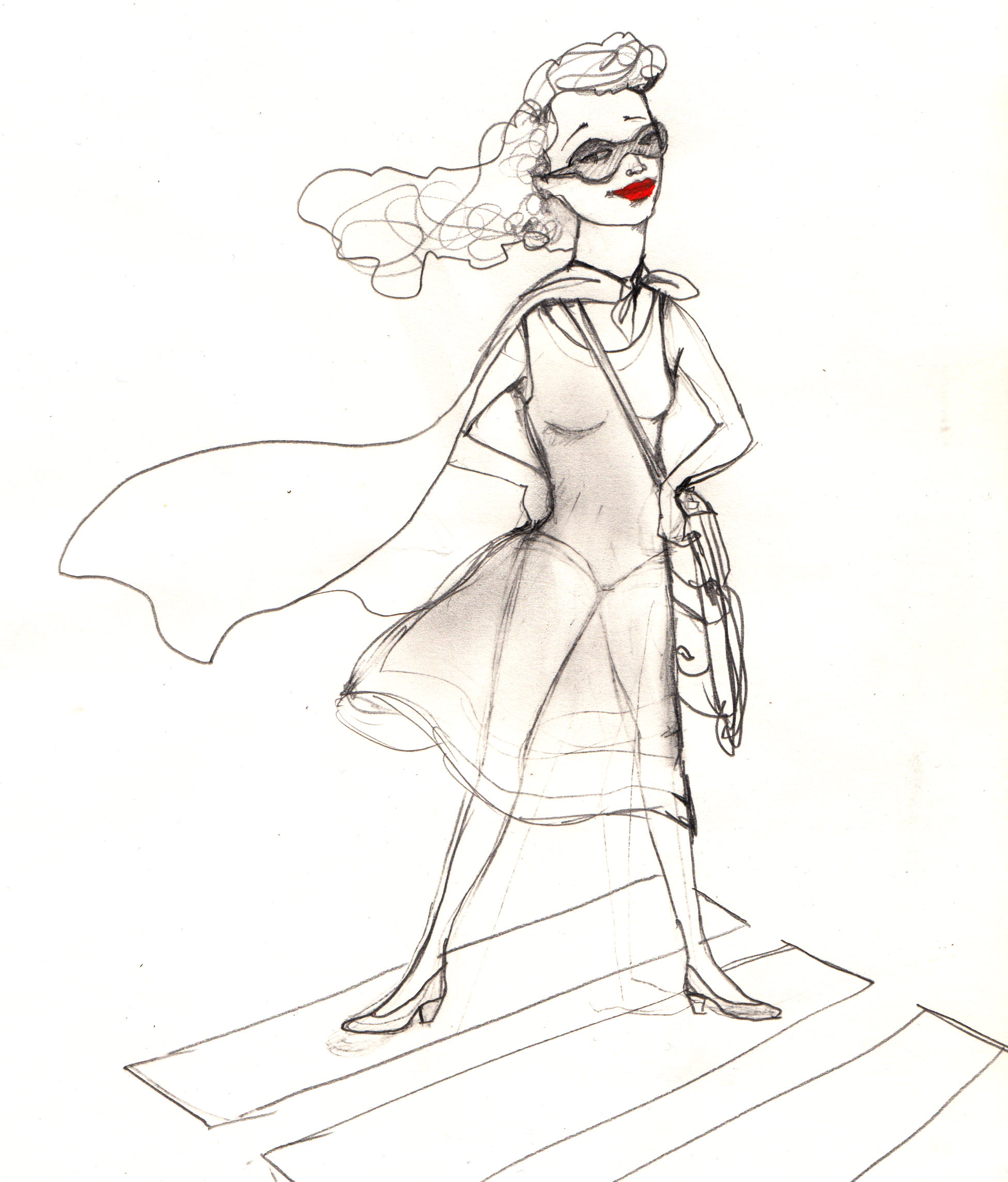 THIS IS ME IN MY CAPE. I NEVER LEAVE THE HOUSE WITHOUT IT OR MY RED LIPSTICK.. EDWINA WHITE ORIGINAL ILLUSTRATION
