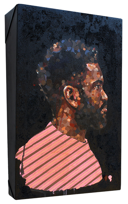 Untitled (Pink & Brown)  , acrylic & pumice on canvas wrapped panel, 2017