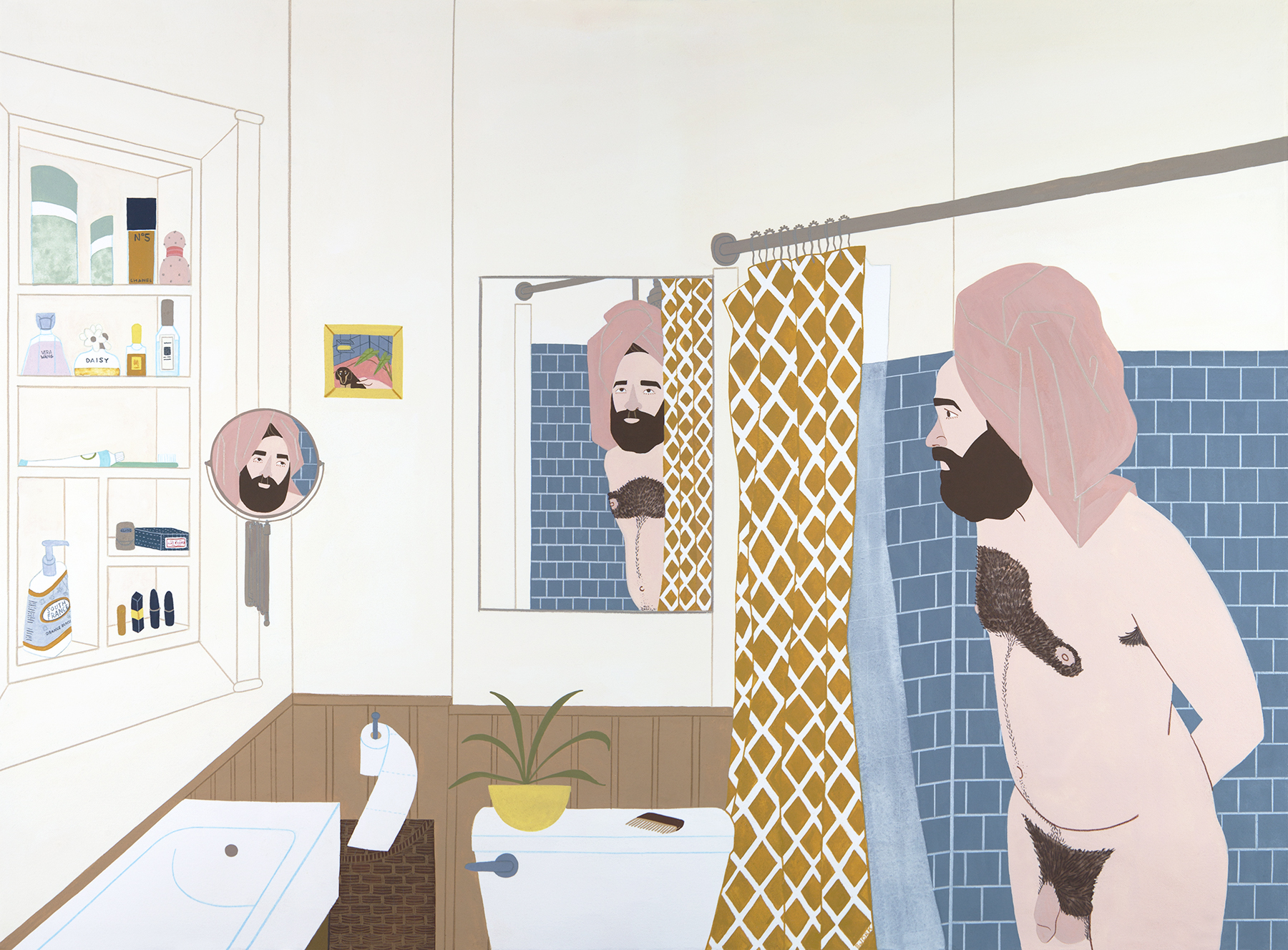 Shower Talk  , gouache + pencil on paper, 2018