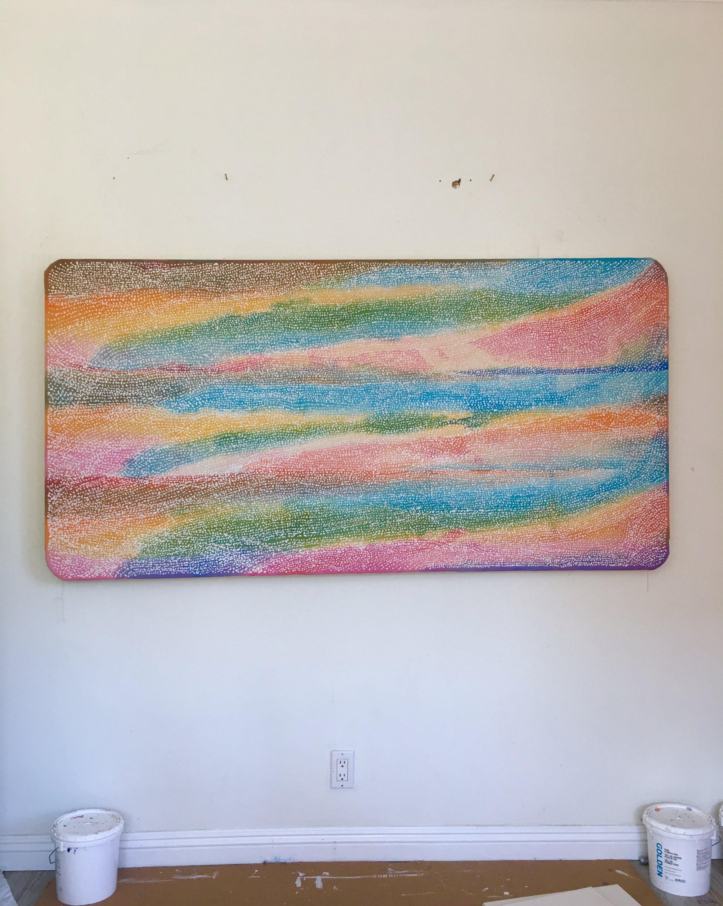 Three Sunrises  , acrylic, pumice, and bleach on canvas, 2018