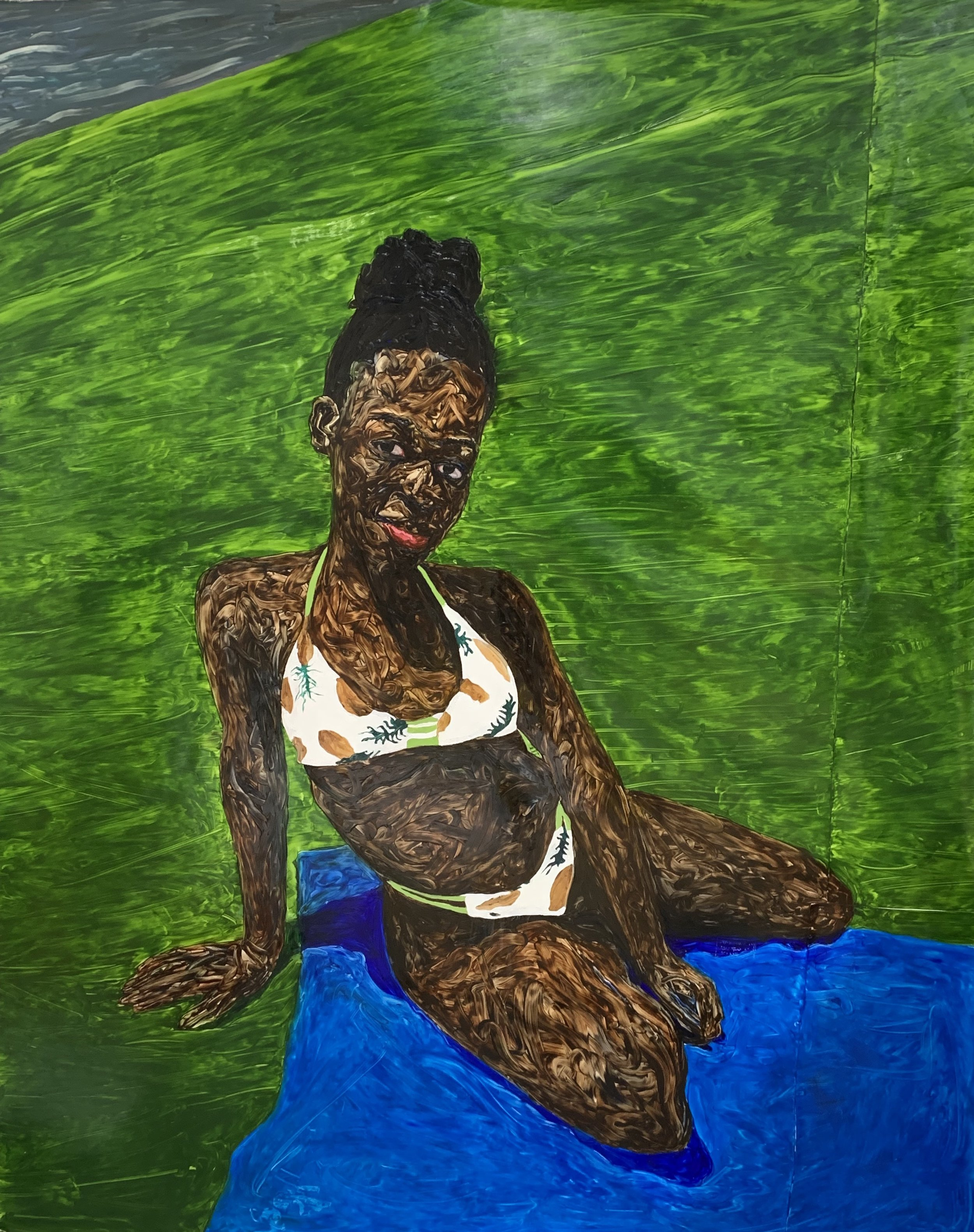Georgina on blue blanket  , oil on canvas, 2018