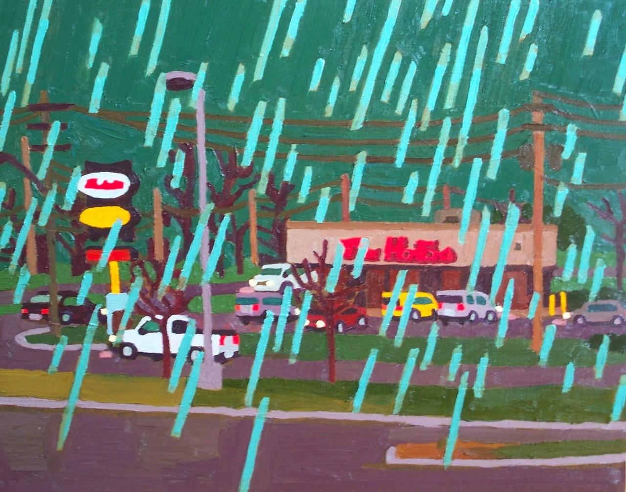 Tim Horton's with Green Rain  , acrylic on canvas, 2011