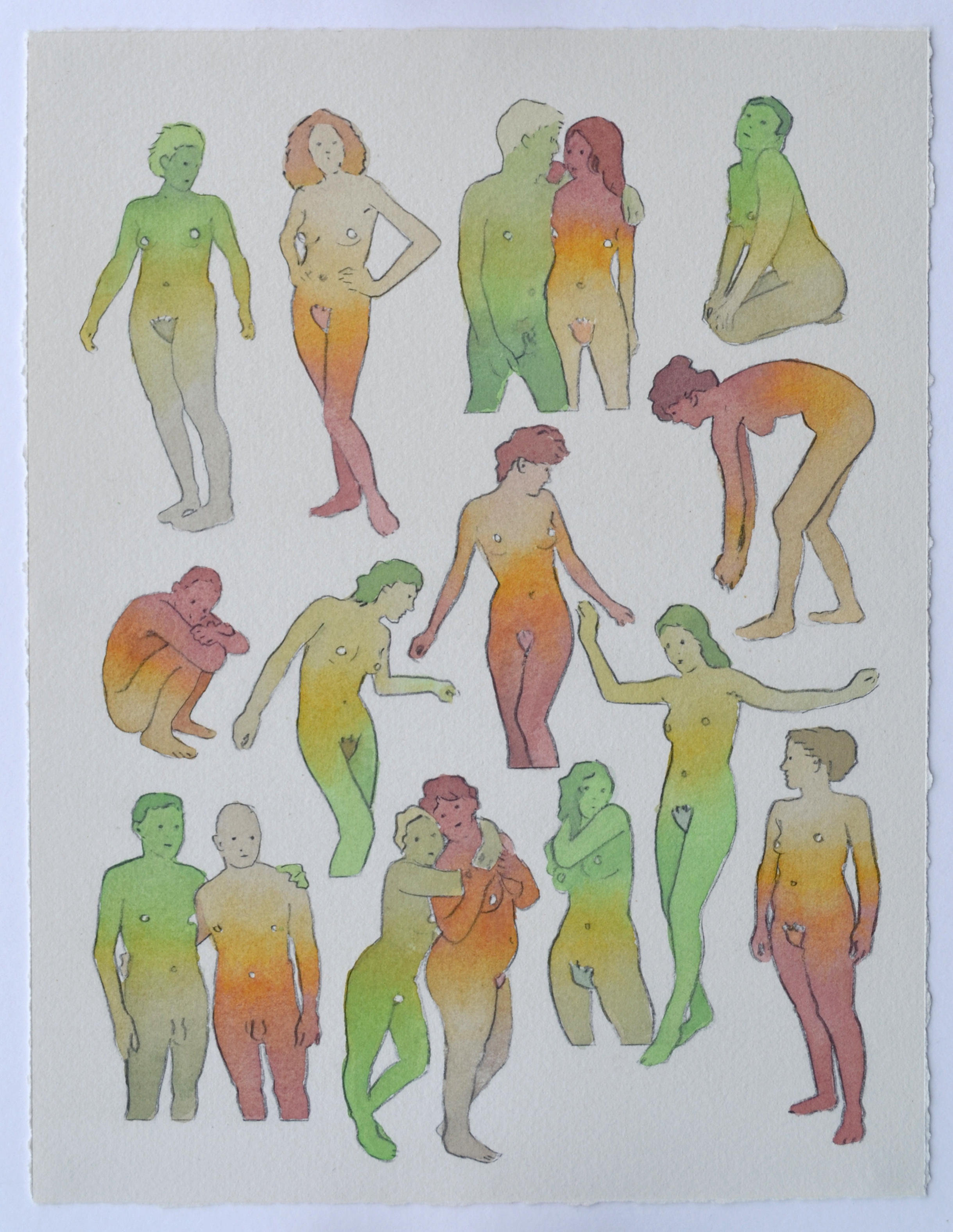 Our Dance  , acrylic and watercolor on paper, 2019