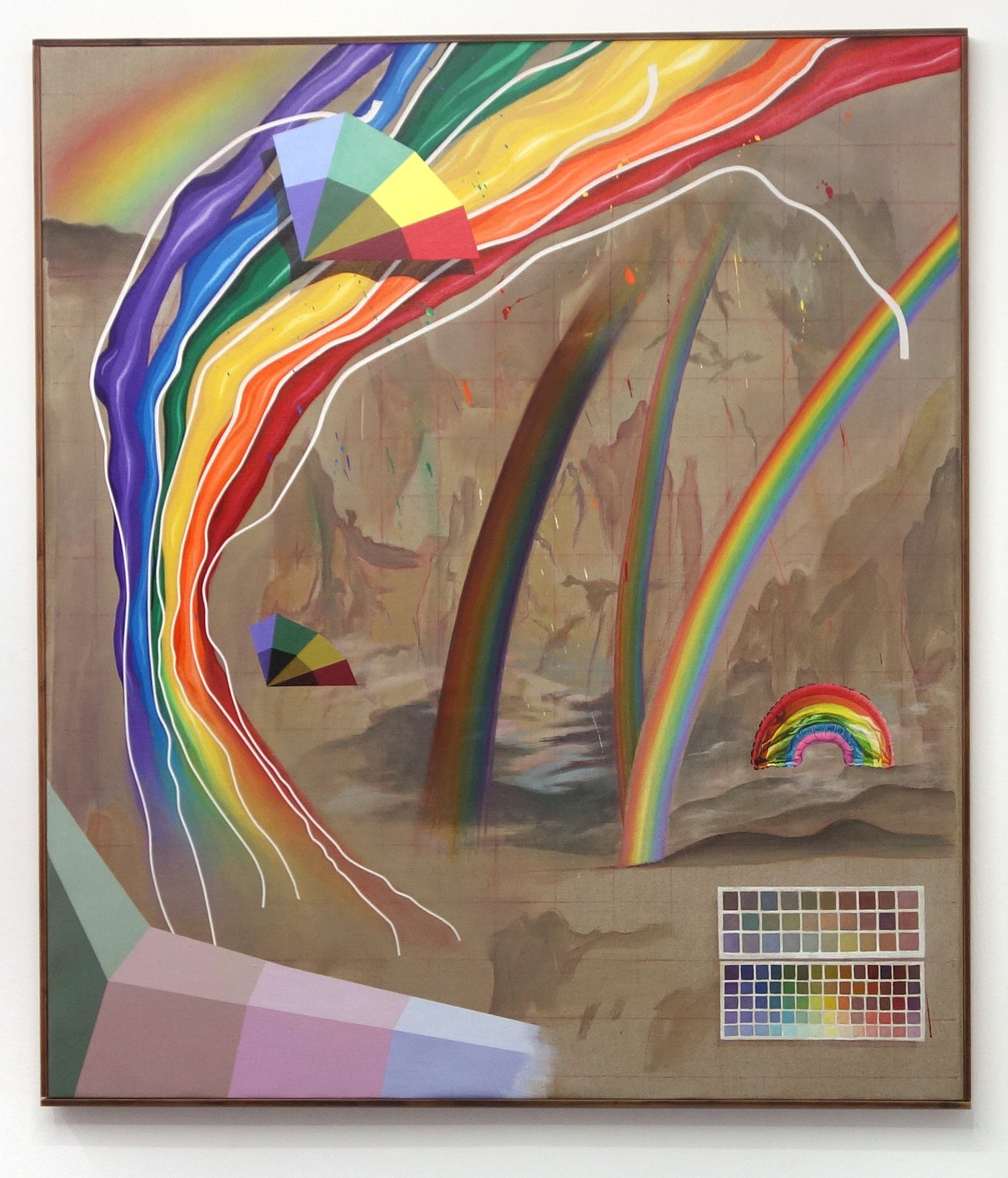 """Various Spectrums (Crockett Johnson's """"Homothetic Triangles,"""" Milton Bradley's """"The Bradley Educational Colored Papers,"""" and Ken Bushe's """"Oil Painting of a Rainbow in the Landscape at Sheriffmuir"""") over Thomas Moran's """"Rainbow over the Grand Canyon of the Yellowstone,""""   oil and acrylic on linen, 2017"""