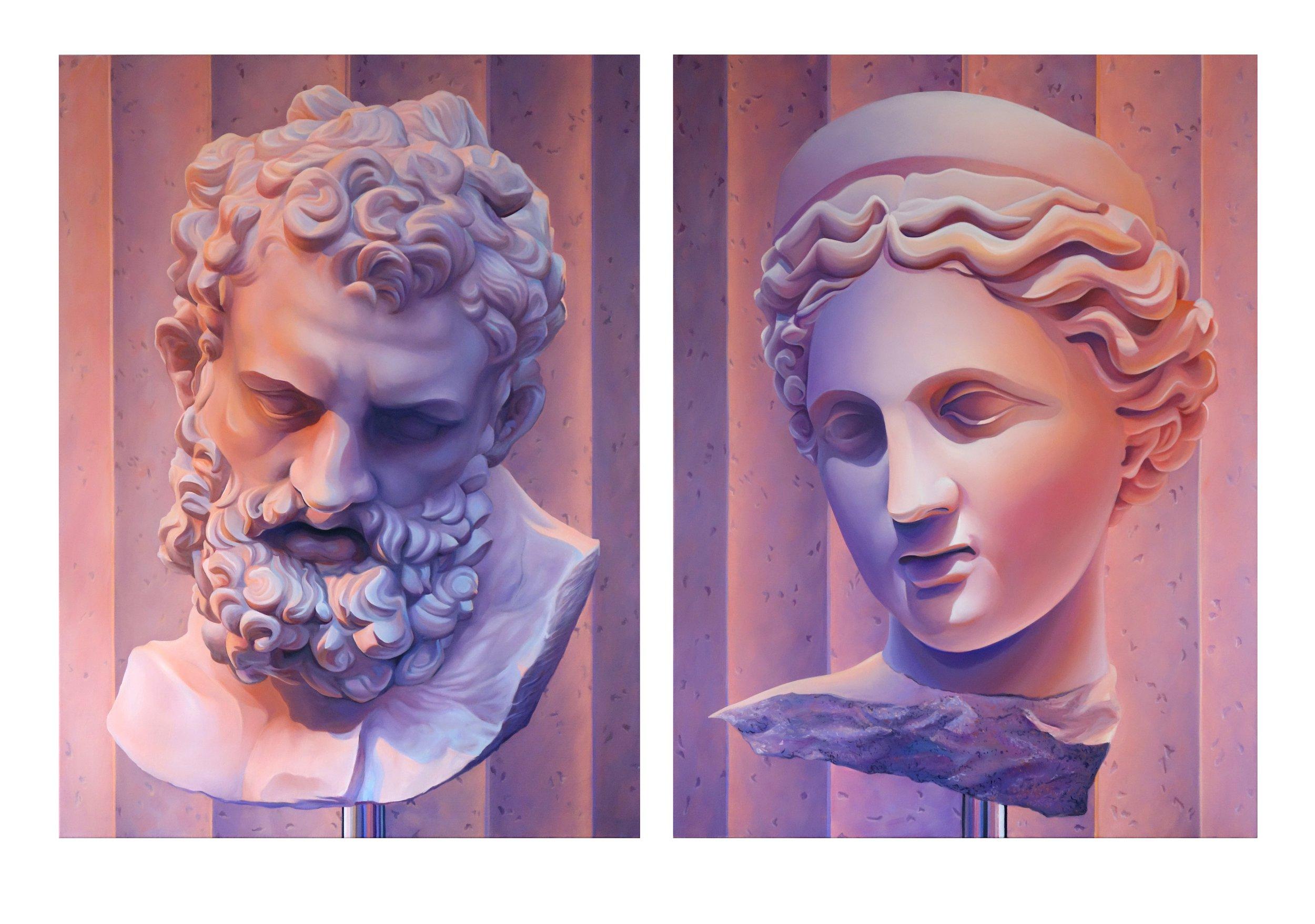 (Left)   Zeus (magenta)  , oil on linen, 2016 (Right)   Godess with Diadem (magenta)  , oil on linen, 2016