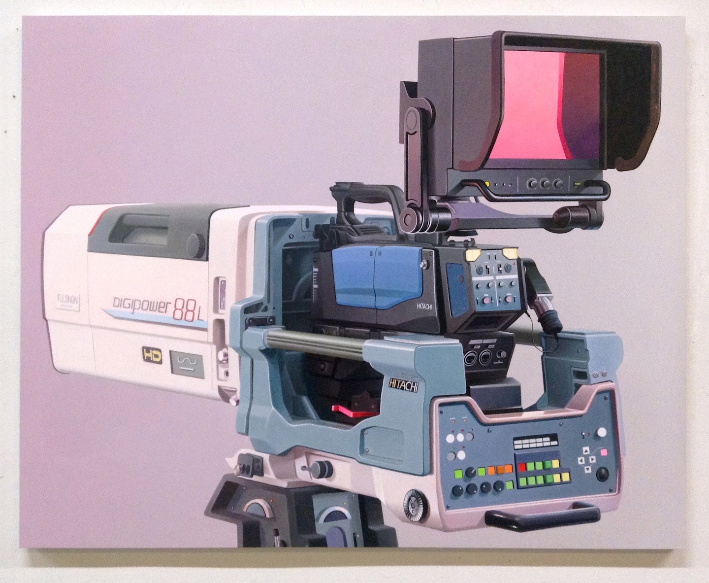 Untitled (white, light blue and magenta camera)  , oil on panel, 2019
