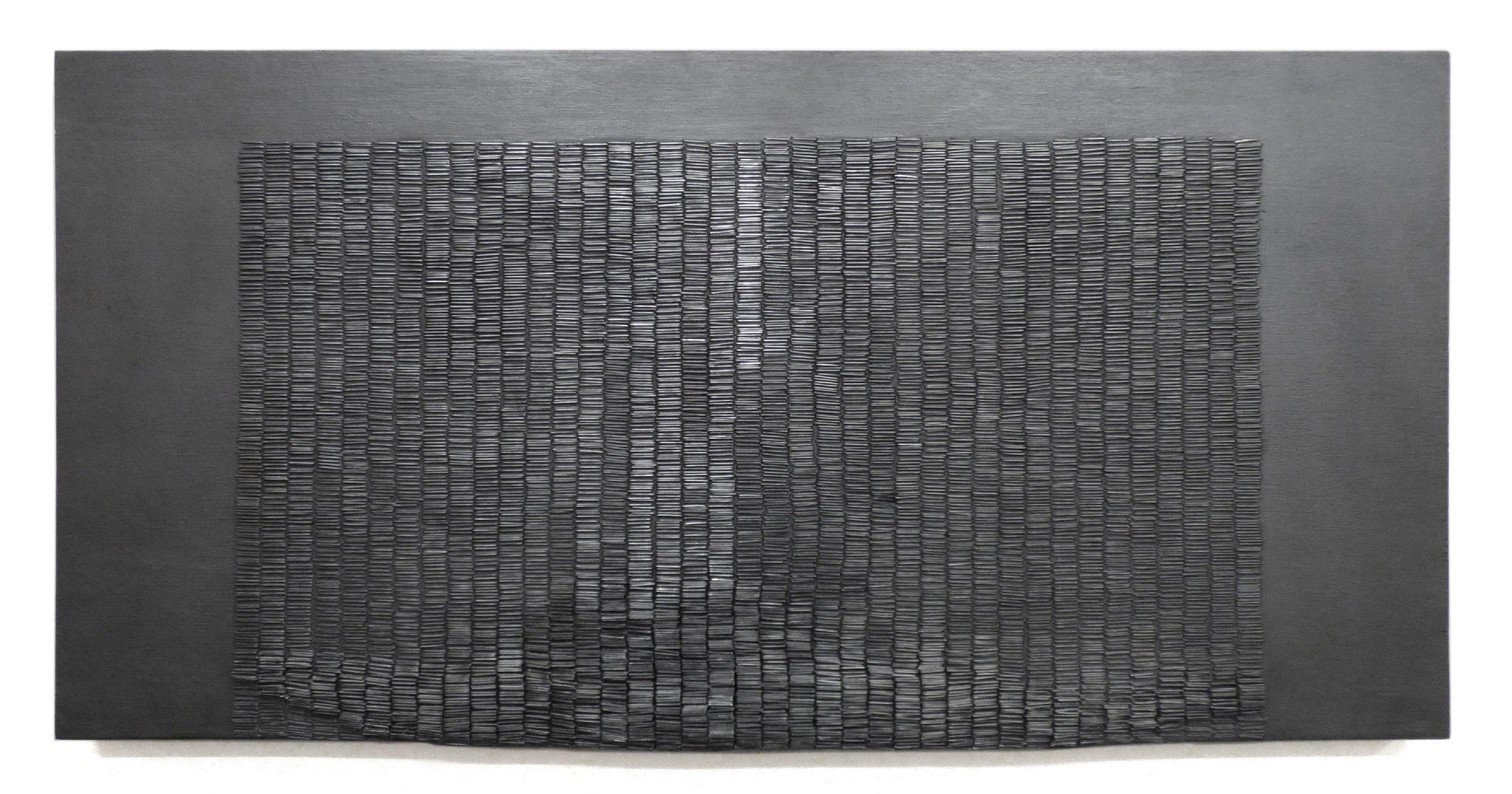 Untitled (Mid Drift)  , Acrylic, Graphite, Staples on Panel, 2016