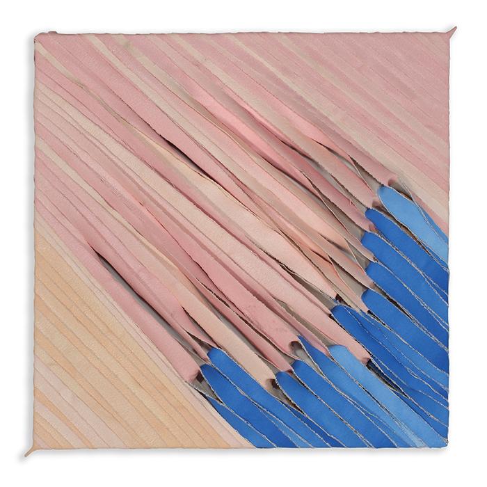 blue to peach  , acrylic paint on torn canvas, 2017