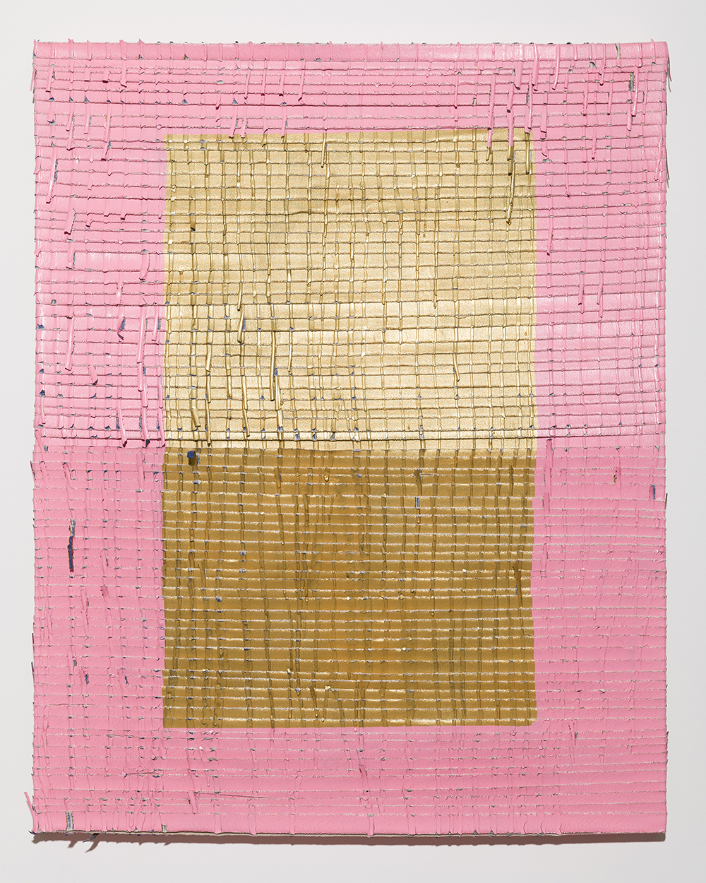 Pink Mat  , Acrylic paint and latex paint on torn canvas, 2019