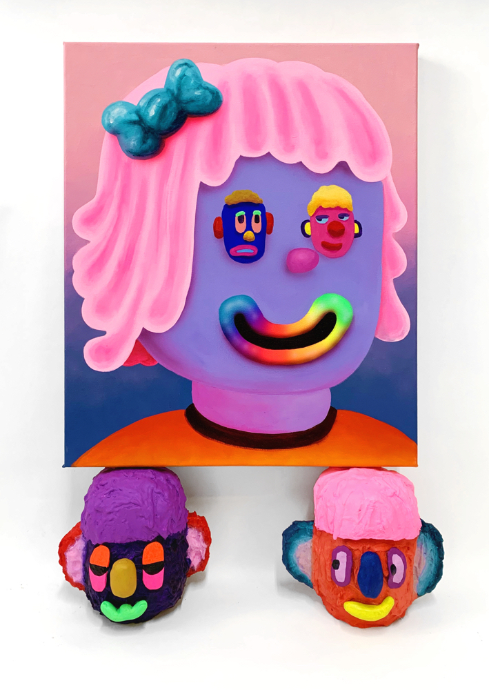 Add me on Myspace  , acrylic and airbrush on canvas resting on 2 heads, acrylic and foam clay on hard coated EPS, 2019
