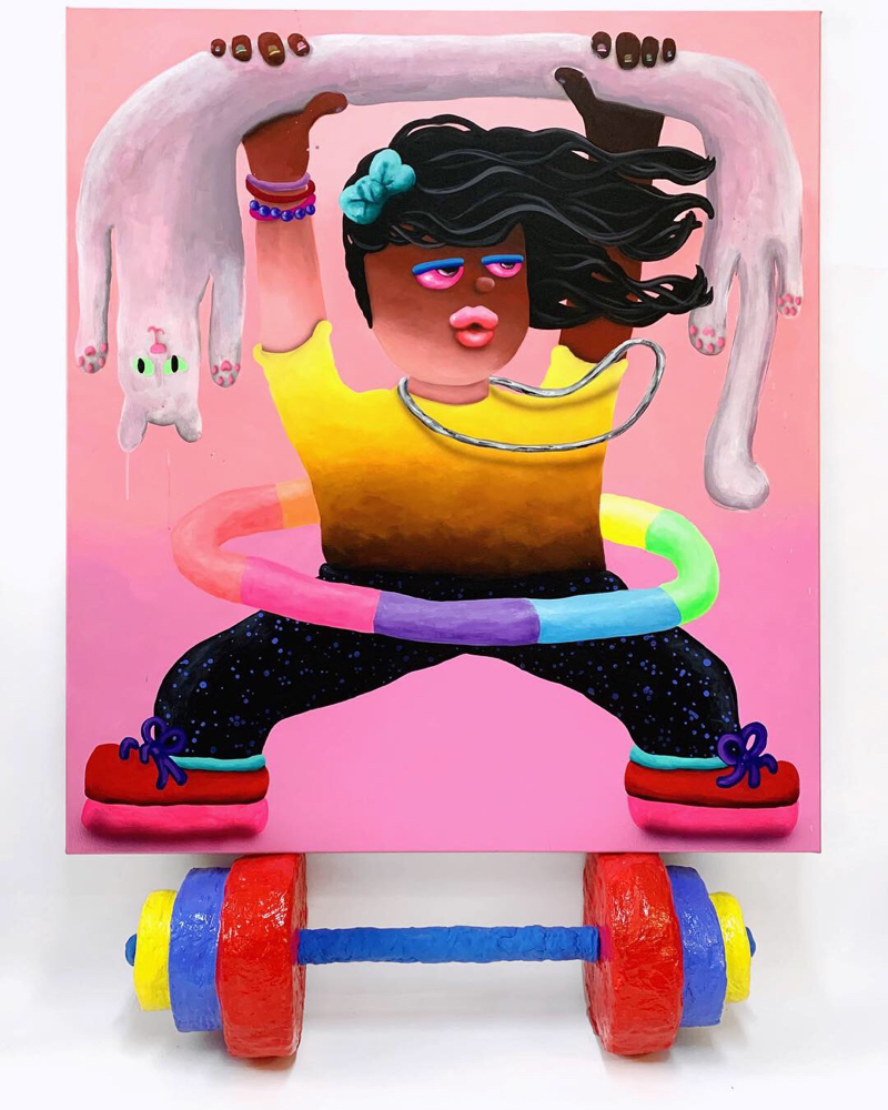 God is a Lady  , acrylic and airbrush on canvas resting on dumbbell sculpture, acrylic and resin on hard coated PU, 2019