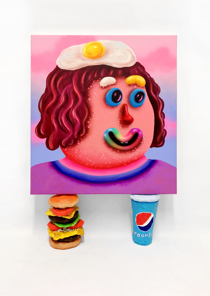 Spice Gurl  , Acrylic and airbrush on canvas resting on Burger and Poopsi Coke, 2018
