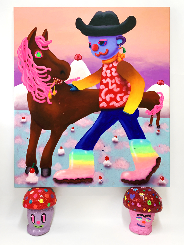 Spruce Nauman  , Acrylic and airbrush on canvas, stickers on canvas sides, mushroom sculptures (acrylic, stickers, play doh, and resin on hard-coated PU), 2019