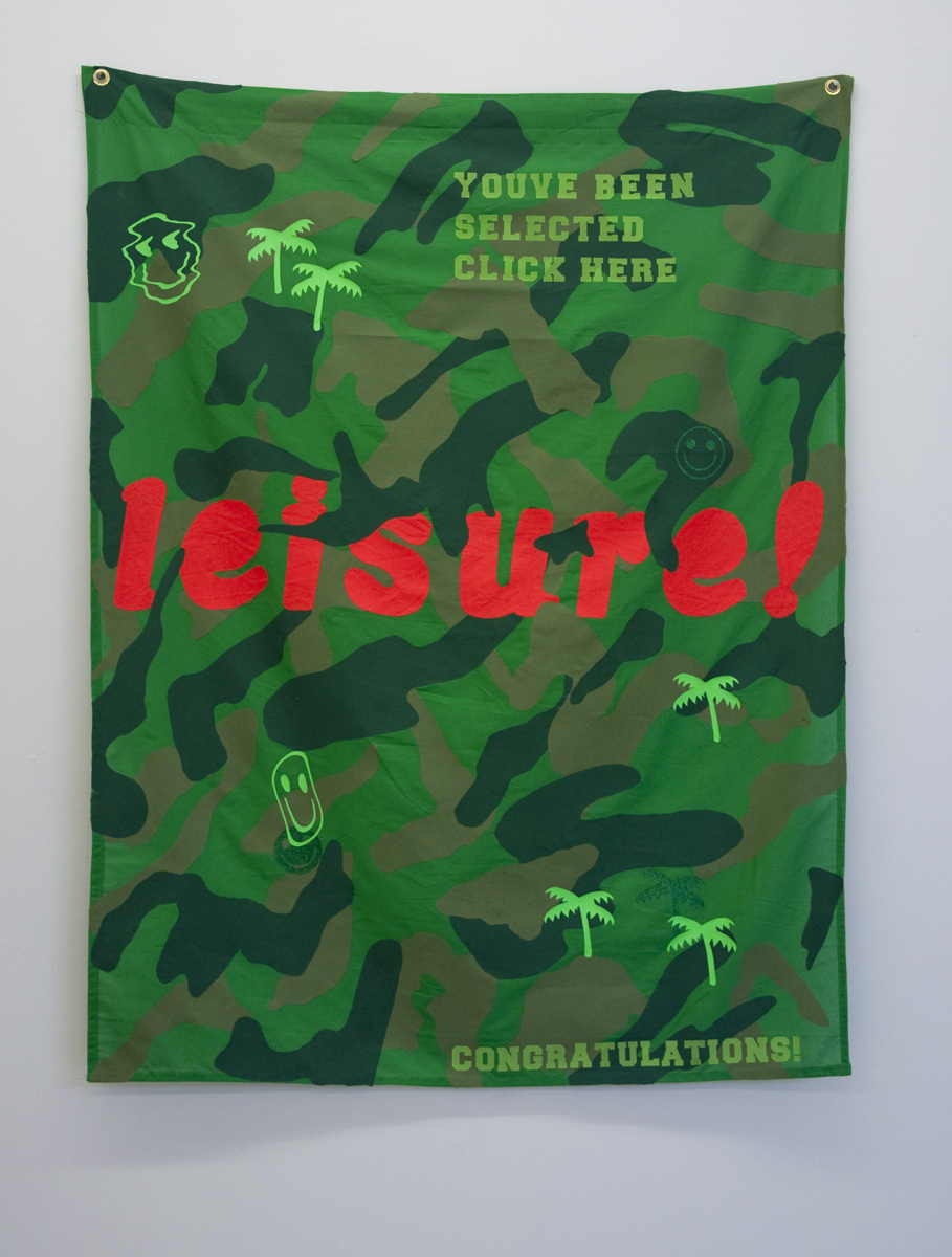 Leisure Flag  , fabric collage, iron-on flocking, and iron-on vinyl on green screen backdrop cloth, 2017
