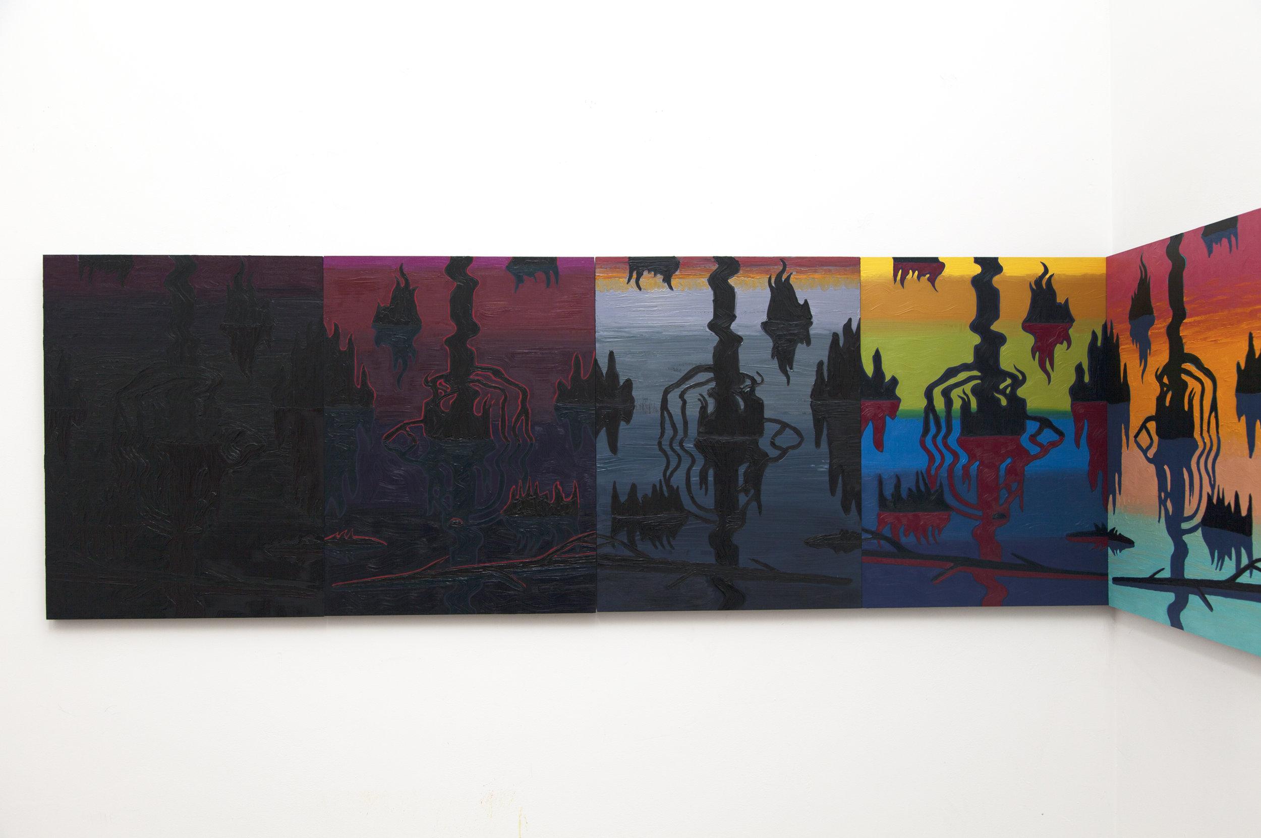 Swamp Shimmer (detail)  , oil on panel, 2015-16